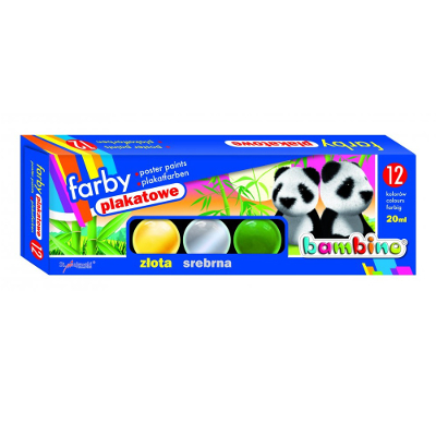 Farby Plakatowe Bambino 12 Kol 20ml 1 Farba Cielista Gratis